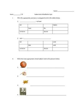 German school subjects quiz