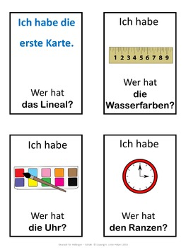 German school words  Ich habe ... Wer hat ...? game