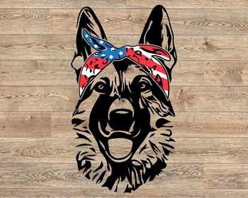 German shepherd USA Bandana mask United States Flag Dog 4th July Breed K-9 1369s