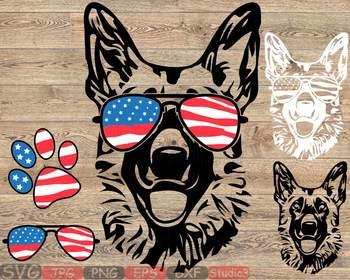 27825abd0207 ... German shepherd USA Flag Glasses Paw Silhouette SVG Dog 4th July Breed  K-9 -