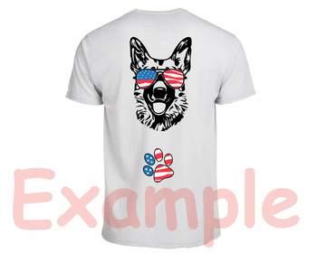 German shepherd USA Flag Glasses Paw Silhouette SVG Dog 4th July Breed K-9 -855s