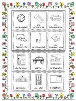 German summer vocabulary cards