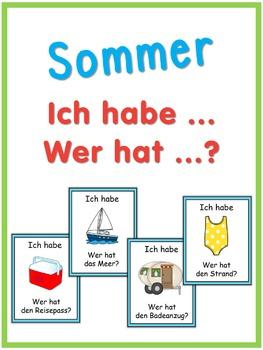 German summer words  Ich habe ... Wer hat ...? game