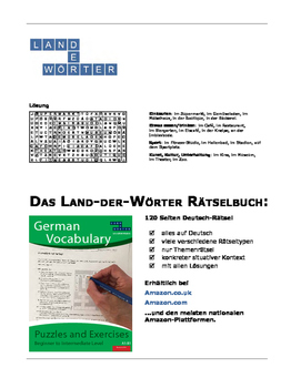 German vocabulary word search puzzle - In Town