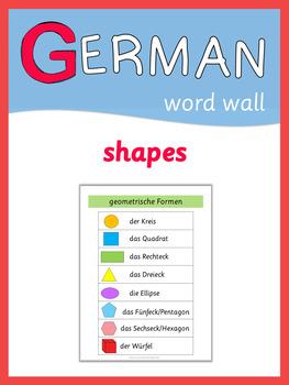 german word wall geometric shapes by little helper tpt