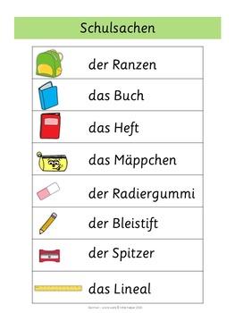 German Word Walls - Basic Vocabulary