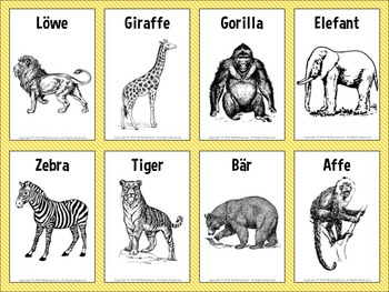 German Animal Vocabulary Flashcards and Word Wall