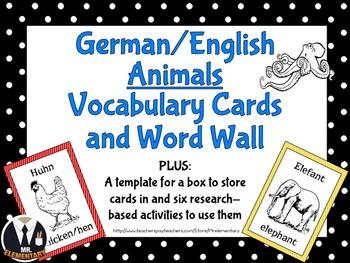 German Animal Vocabulary Flashcards and Word Wall