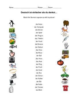 German/English Cognate Quiz