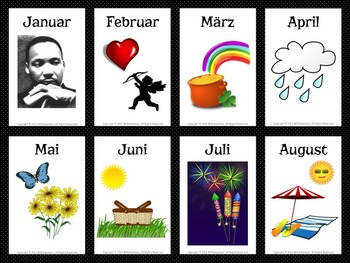 German/English Months and Seasons Flashcards and Word Wall