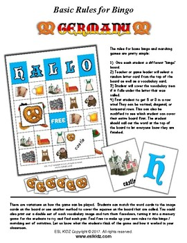 Germany Bingo Matching Activity
