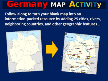 Germany Map Activity- fun, engaging, follow-along 24-slide PPT