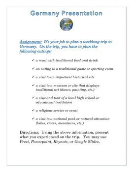 Germany Presentations Instructions & Rubric