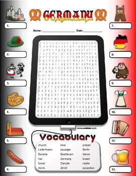 Germany Vocabulary / Identify Activity