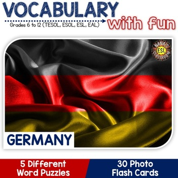 Germany - Country Symbols: 5 Different Word puzzles and 30 Photo Flash Cards