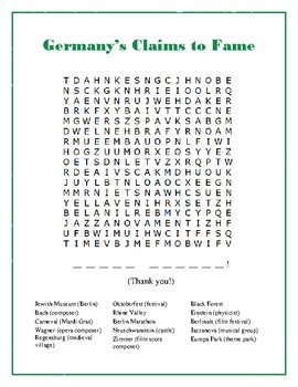 Germany Word Search Puzzle with Hidden Message: Fun Filler Activity!