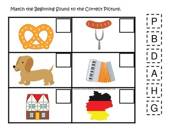 Germany themed Match the Beginning Sound preschool learning game.  Daycare.