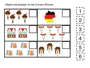 Germany themed Match the Number preschool printable.  Homeschool daycare.