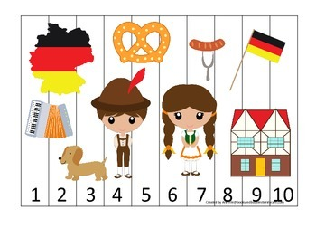 Germany themed Number Sequence Puzzle preschool learning game.  Daycare.