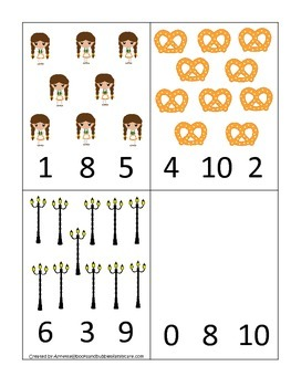 Germany themed Numbers Clip it Cards preschool math learning activity.