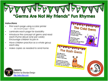 Germs Are Not My Friends Funny Rhymes