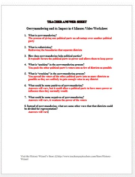 Gerrymandering and its Impact on Elections in 4 Minutes Video Worksheet