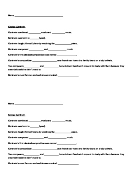 Gershwin Worksheet using Classicsforkids.com