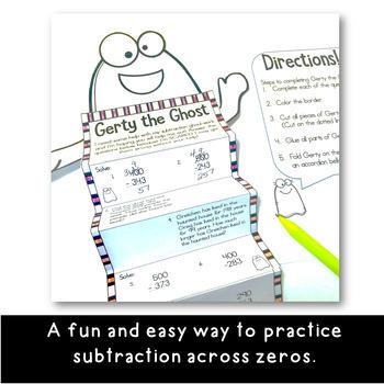 Gerty the Ghost Halloween Math Craftivity- Subtraction Across Zeros- Grades 3-4
