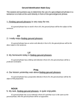 Gerund Identification Guide Sheet