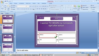 Gerund Participle Infinitive or Verb Exercise for Powerpoint