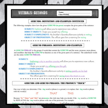 Gerunds Worksheets: Verbals Definition and Writing Practice