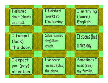 Gerund and Infinitive Cards