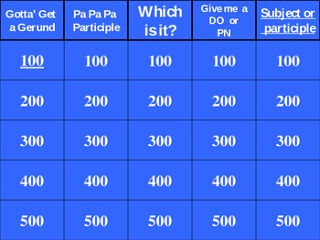 Gerund and Participle Jeopardy Review GAME