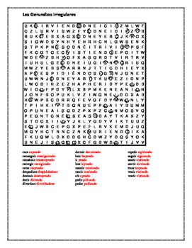 Gerundios irregulares (Irregular gerunds in Spanish) Wordsearch