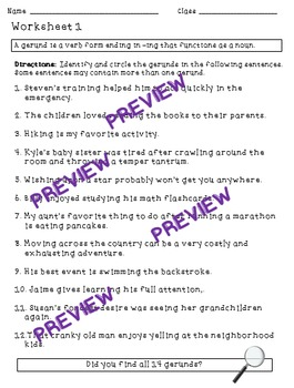 Gerunds - a Common Core verbals worksheet