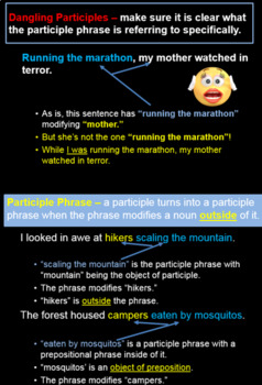 Grammar: Gerunds, Infinitives, and Participles! Fun PowerPoint and Notes!