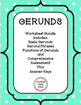 Gerunds Worksheets and Assessment Bundle (verbals)
