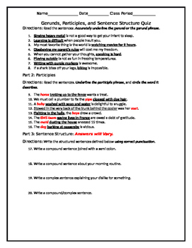 Gerunds and Participles and Grammar