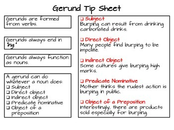 Gerunds and Their Functions Practice Smart Chart