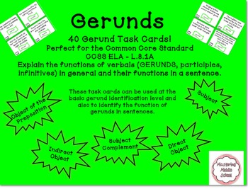 Gerunds and Their Functions Task Cards - Common Core aligned