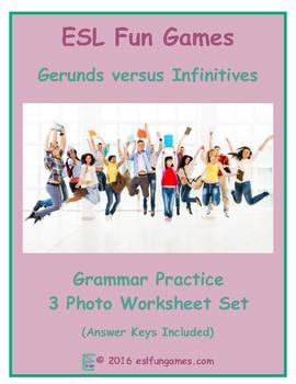 Gerunds versus Infinitives 3 Photo Worksheet Set