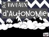 Gestion de classe // Niveaux d'autonomie - 1er cycle