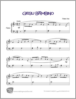 Gesu Bambino (The Infant Jesus) | Sheet Music for Piano Solo (Digital Print)