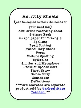 Get 30 Spelling Menu and Activity Printables
