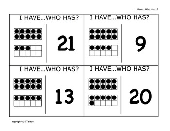 """""""I Have...Who Has?"""" Ten Frames - Numbers Game"""