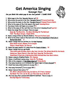 Get America Singing Scavenger Hunt - Answer Sheet