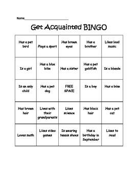 Get Aquainted Bingo