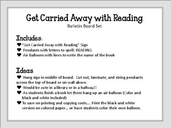 Get Carried Away with Reading! Bulletin Board Set. Reading Library Air Balloons