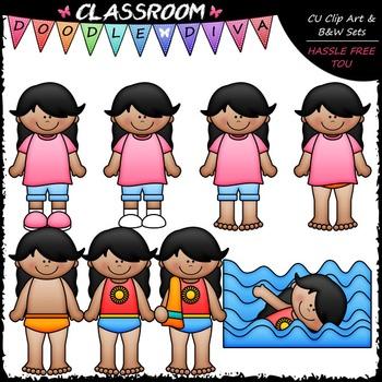 Get Dressed For Swimming Kids Clip Art & B&W Bundle (6 Sets)