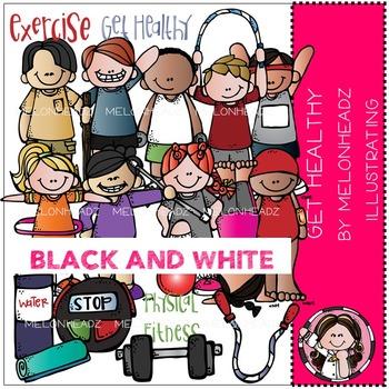 Melonheadz: Get Healthy clip art - BLACK AND WHITE